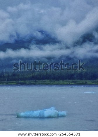 Ice Floating in Glacier Bay National Park in Alaska - stock photo