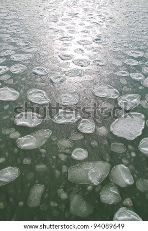 ice floe at the sea - stock photo