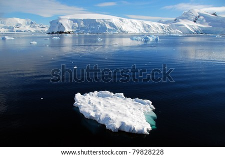 ice floe in antarctica - stock photo