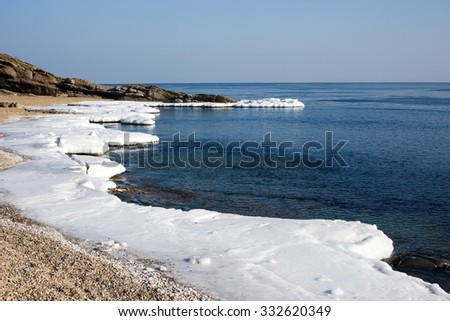 Ice Floe,  North sea, cold sea of the North, winter ice, white snow of the Arctic, Arctic ocean. Beach at the winter ocean. Spring Arctic. Melting of ice - stock photo