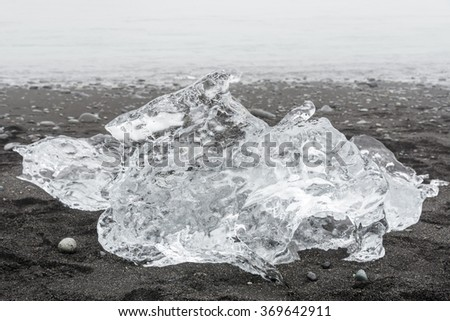 Ice floes are on the Atlantic ocean volcanic black sand beach in the mist. Iceland. August.