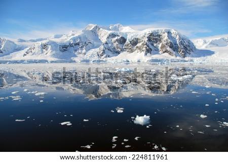 ice floes in antarctic ocean - stock photo