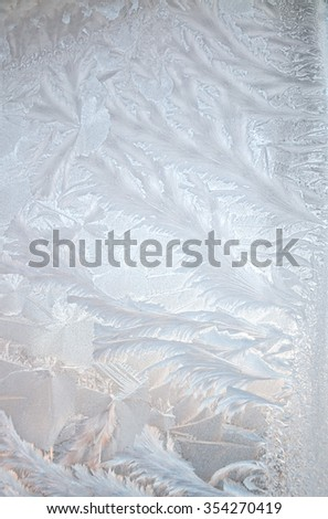 Ice floral pattern on glass, holiday seasonal background