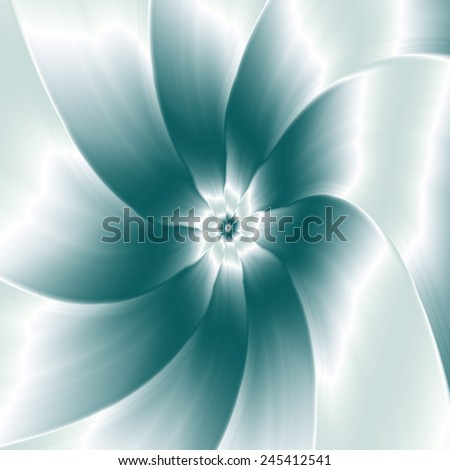 Ice Flower / A digital abstract fractal image with a flower design in white and blue. - stock photo