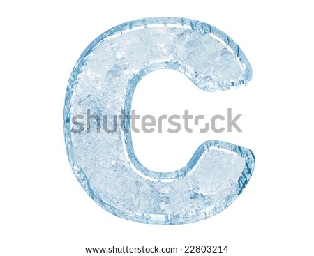 Ice font. Letter C.Upper case.With clipping path. - stock photo