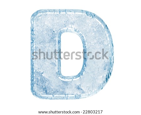 Ice font. Letter D.Upper case.With clipping path. - stock photo