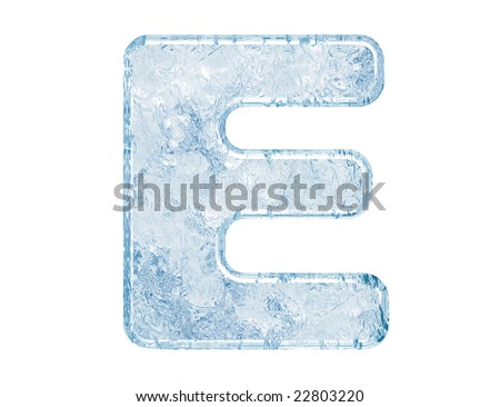 Ice font. Letter E.Upper case.With clipping path. - stock photo