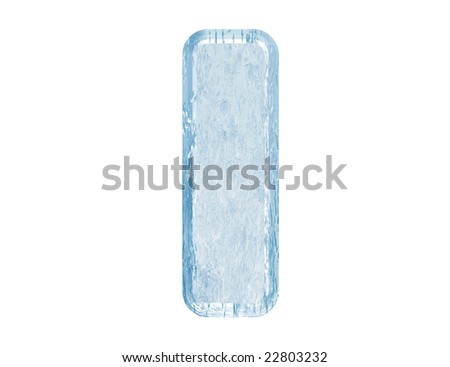 Ice font. Letter I.Upper case.With clipping path. - stock photo