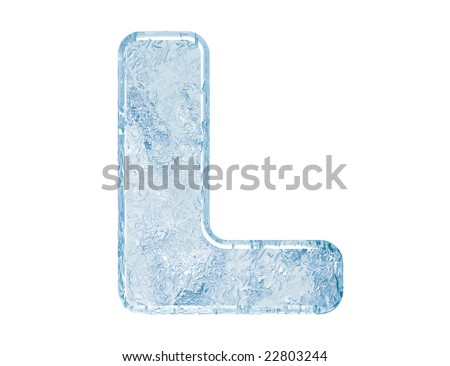 Ice font. Letter L.Upper case.With clipping path. - stock photo