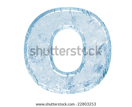 Ice font. Letter O.Upper case.With clipping path. - stock photo