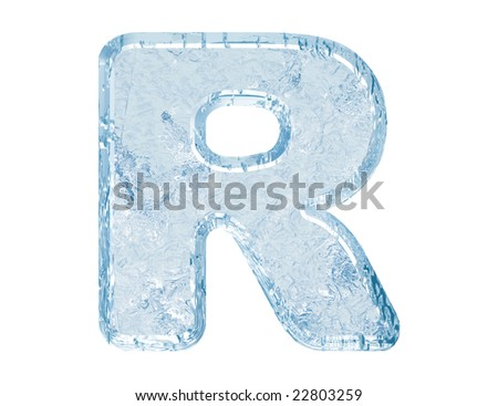 Ice font. Letter R.Upper case.With clipping path. - stock photo