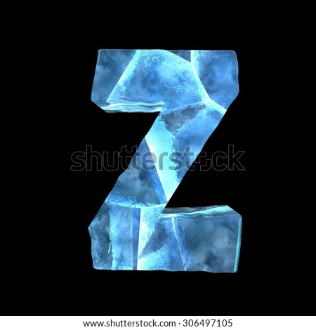 Ice font. Letter Z.Upper case isolated on black - stock photo