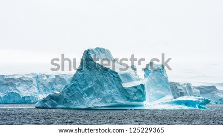 Ice formation of Antarctica, the fifth-largest continent, about 1.3 times as large as Europe. - stock photo