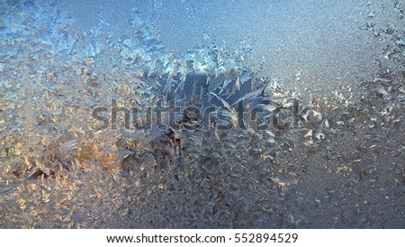 Ice formation on window during very cold day.