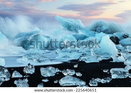Ice formations, Jokulsarlon, Iceland - stock photo