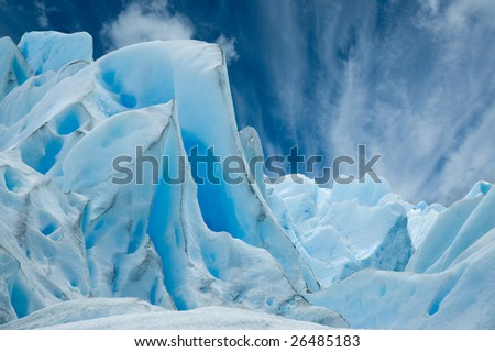 Ice forms on the surface of Perito Moreno Glacier, Patagonia, Argentina. - stock photo