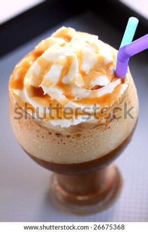 ice frappe latte coffee with whipped cream. - stock photo