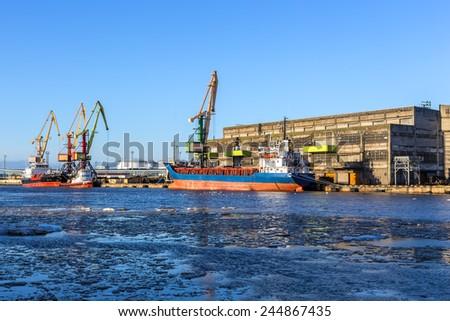 ice-free port on the Baltic Sea, Ventspils, Latvia - stock photo