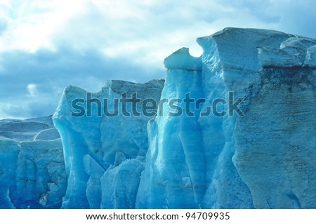 Ice from the Mendenhall Glacier in Alaska - stock photo