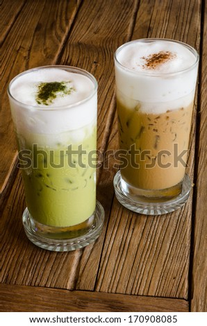 ice green tea and  coffee - stock photo