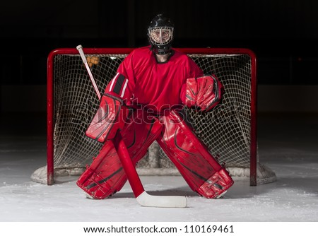 Ice hockey goalie in front of a goal net - stock photo