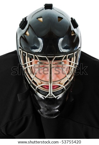 Ice hockey goalie portrait. Photo on white background