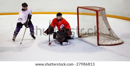 Ice hockey player shoots and scores - stock photo