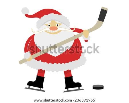 ice hockey Santa Claus with a stick on ice skates  - stock photo