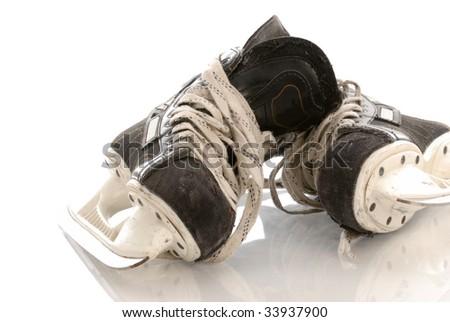 ice hockey skates with reflection on white background - stock photo