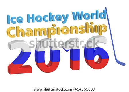 ice hockey world championship 2016 in Russia concept. 3D rendering