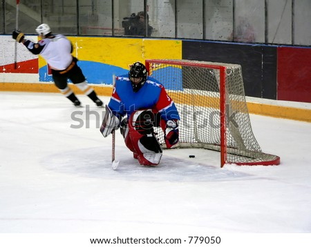 Ice hokey player just hit a goal. Player is in motion (blurred) - stock photo