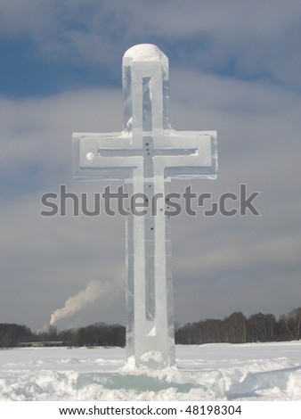 Ice holy cross on the lake in winter - stock photo