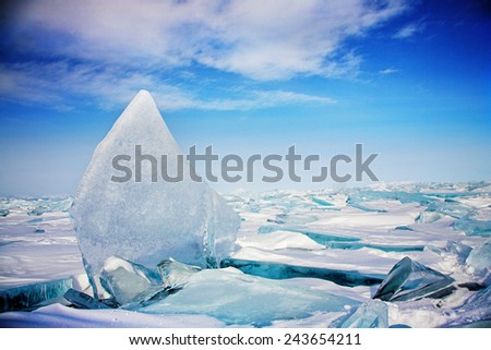 ice hummock at frozen baikal lake in winter - stock photo