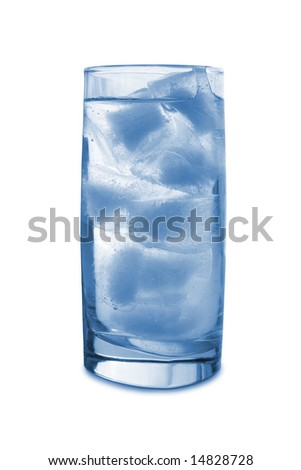 Ice in glass, isolated on white background