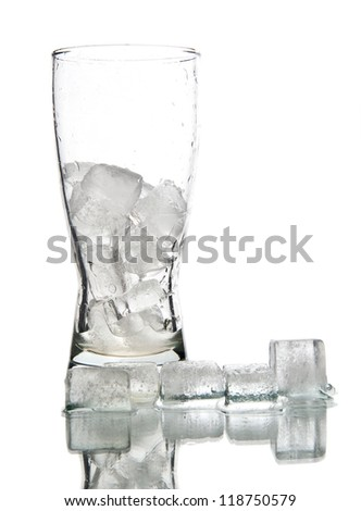 ice in glass on a white background - stock photo