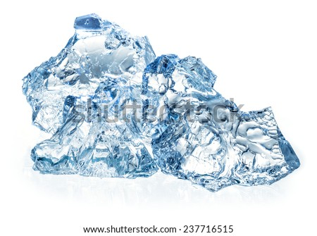 Ice isolated on white background - stock photo
