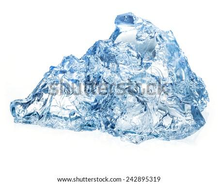 Ice isolated on white background - stock photo