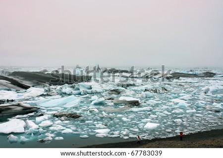 Ice lagoon Jokulsarlon in Iceland. - stock photo