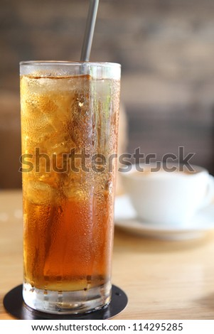 Ice lemon tea - stock photo