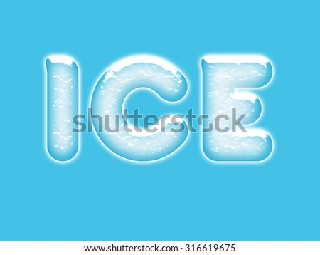 ice lettering in ice letters with snow on top and a blue background with snowfall  - stock photo