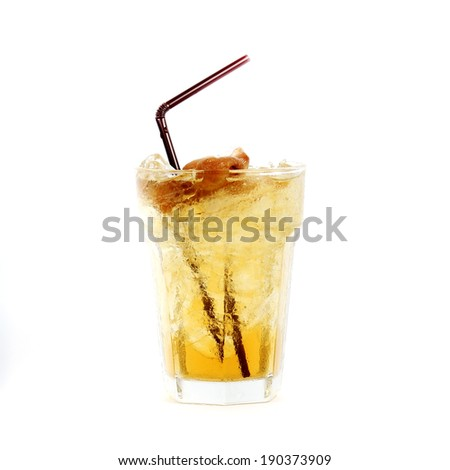 Ice Longan Juice isolated on white background