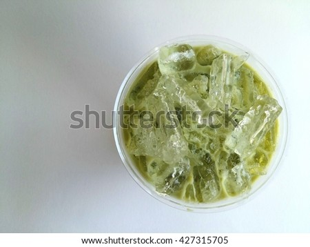 Ice matcha latte so delicious drink on white background