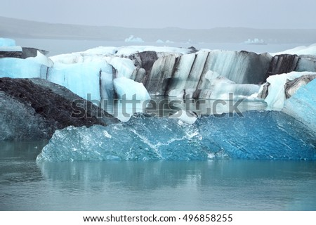 Ice of a glacier vatnajokull