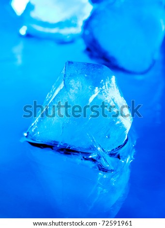 Ice on a blue background