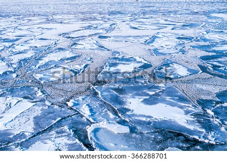 Ice on a river - stock photo