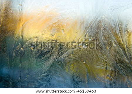 ice on a window - stock photo