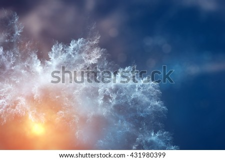 Ice pattern with sunlight on winter glass. Winter frosted painting xmas design template.  - stock photo