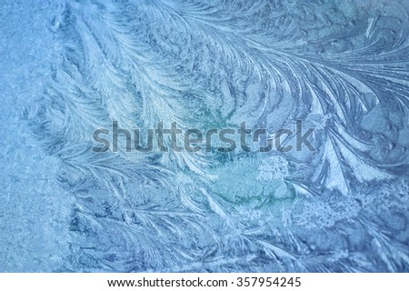 Ice patterns on winter glass