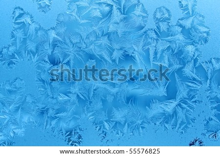 ice patterns on winter glass texture - stock photo