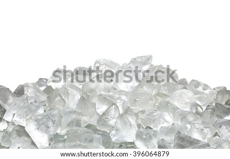 Ice pile on white background